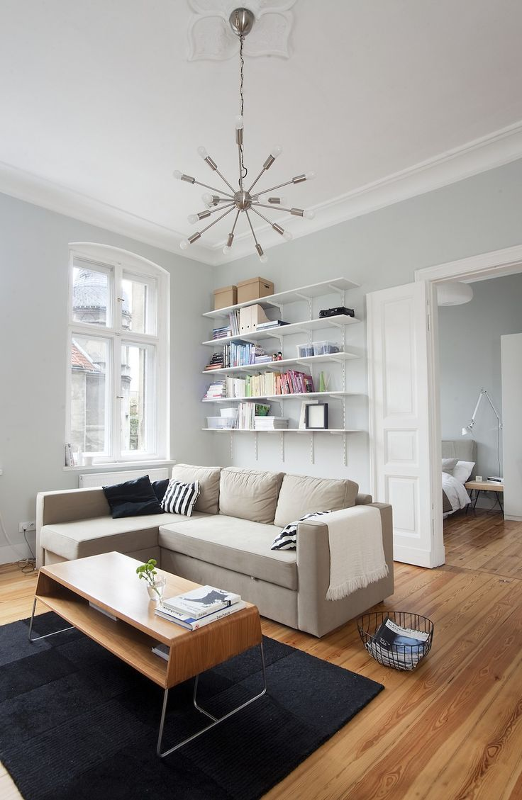Comfortable Poznan Apartment Living Room featured with Wall Bookshelving Sofa and Wooden Table,