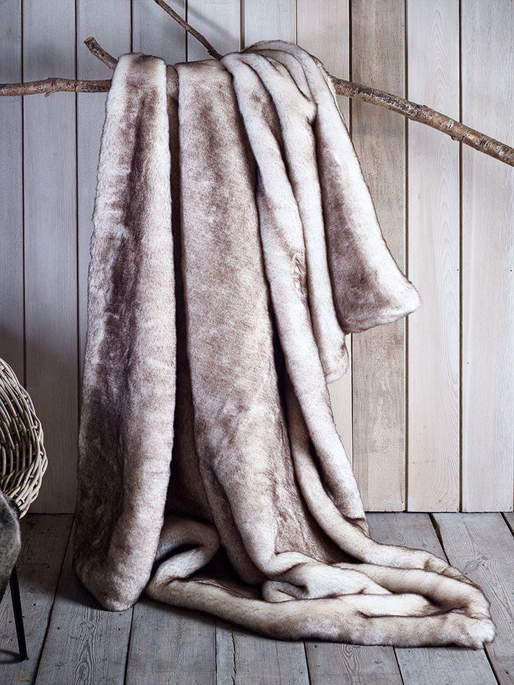 Luxurious Supersoft Faux Fur Throw - Snow Fox   Cox & Cox