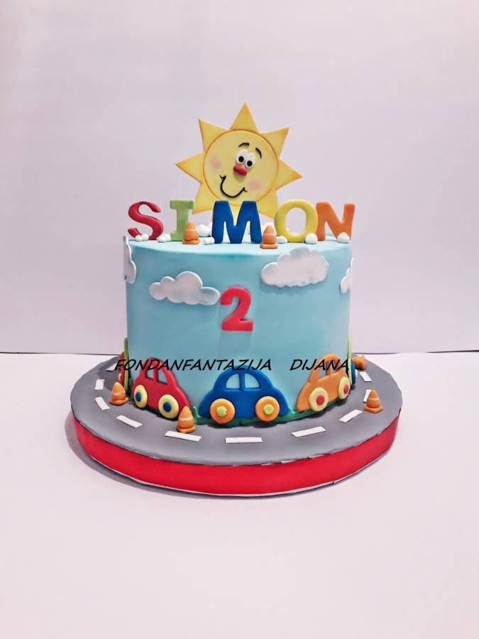 Little Cars With Images Beautiful Cake Designs Baby Birthday