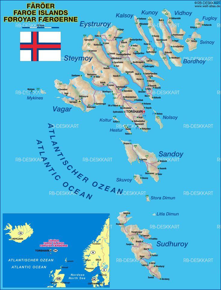 Färöer Karte im Färöer Inseln Reiseführer http://www.abenteurer.net/1615-faeroeer-inseln-reisefuehrer/