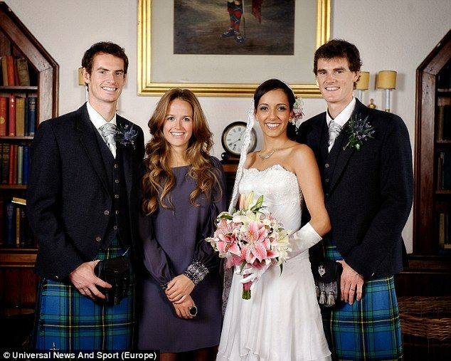Family: Andy Murray and Kim Sears at the wedding of his brother Jamie Murray to Alejandra Gutierrez