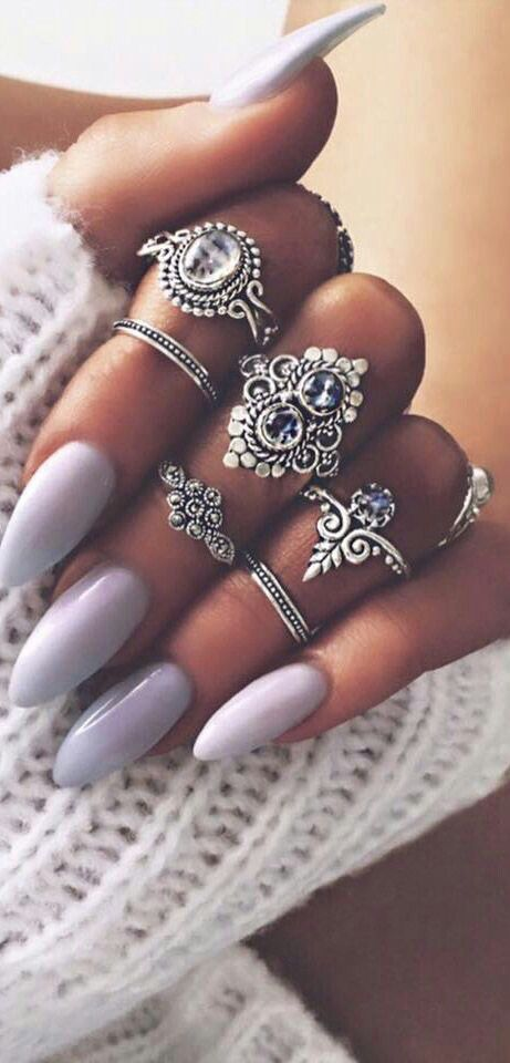 Lovely lavender and lilac nails