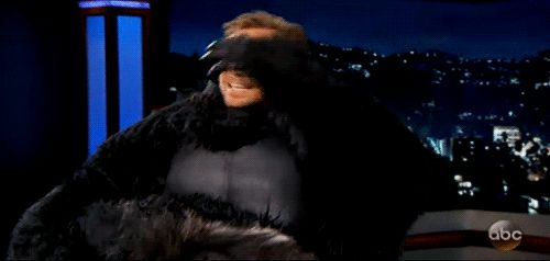 Tom Hiddleston wearing a gorilla suit on Jimmy Kimmel