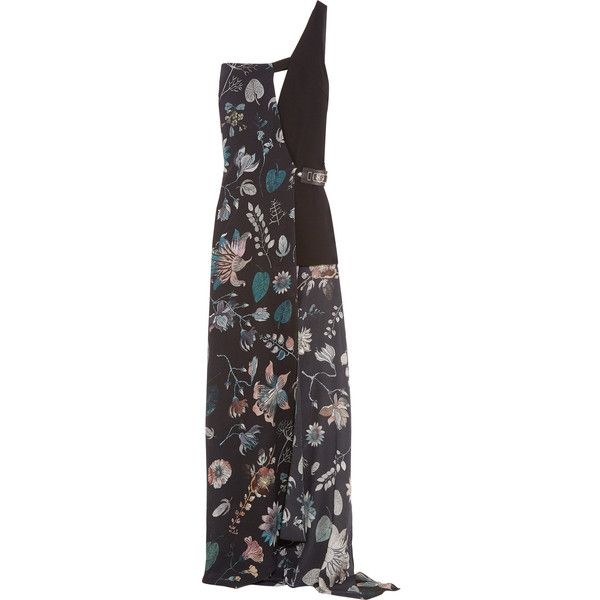 Versus Versace One-shoulder printed silk-chiffon and crepe maxi dress (447,775 KRW) ❤ liked on Polyvore featuring dresses, black, multi color maxi dress, one sleeve dress, petite dresses, overlay maxi dress and petite maxi dresses