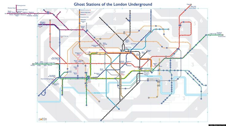Dylan Maryk charted the many ghost stations of the London Underground network and presented them in this traditional schematic map of the Tube network.