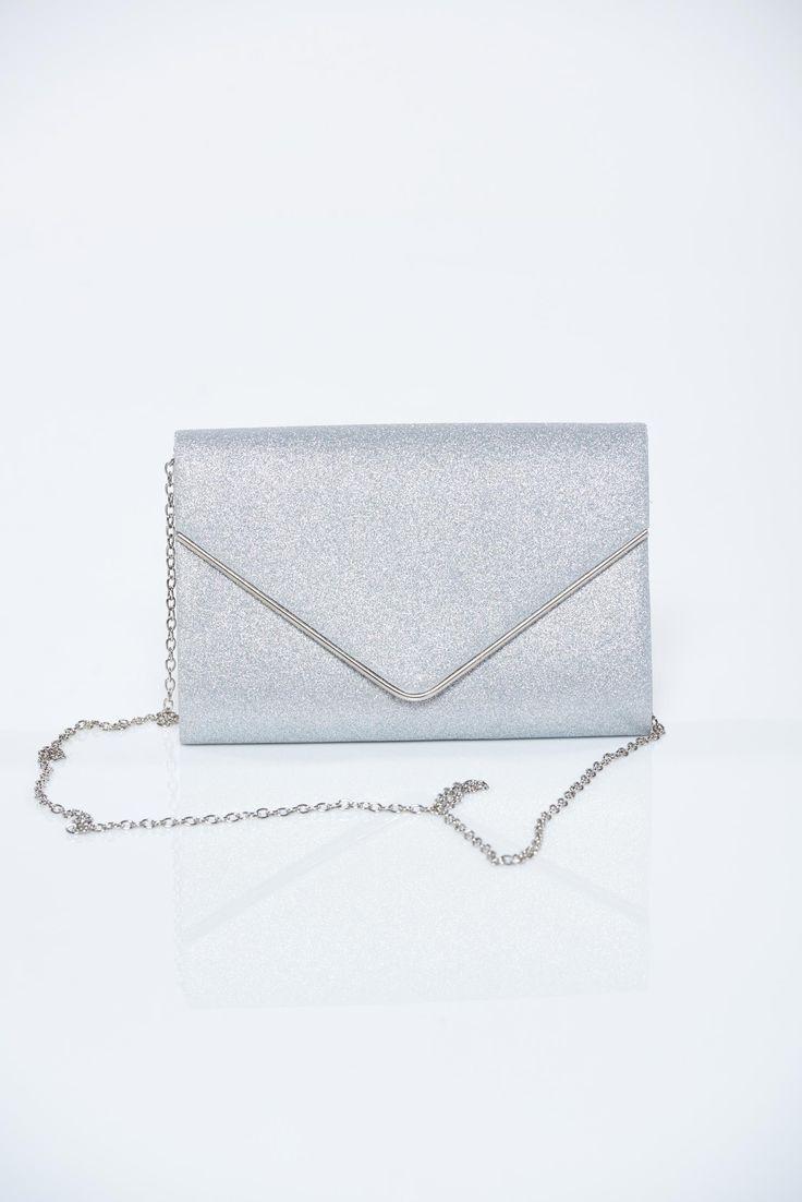 Comanda online, Geanta dama plic argintie cu aplicatii cu sclipici. Articole masurate, calitate garantata!