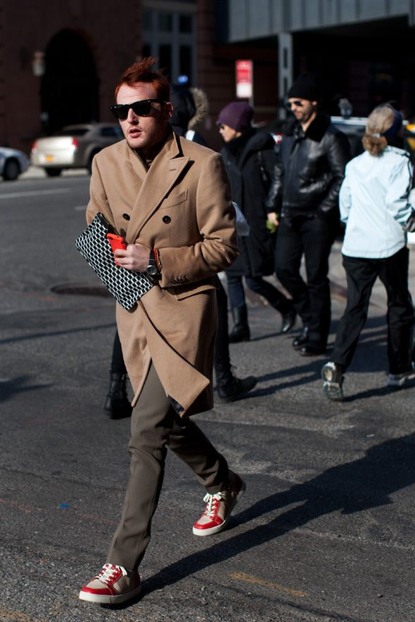 red accent color. camel coat. NY tenth ave. men's fashion. by the sartorialist