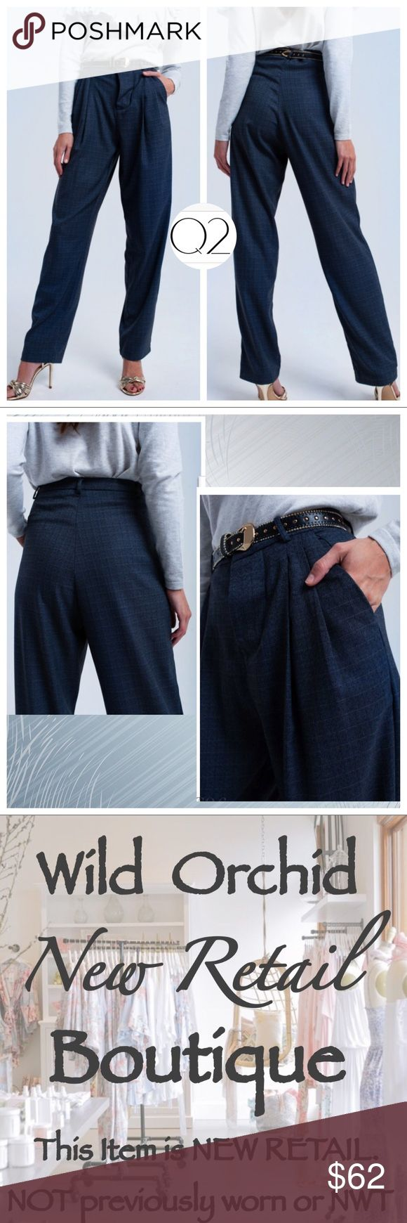 """🆕Q2 GRAY TARTAN PATTERN PANTS Gray tartan pattern pants.  •Five belt loops, two pockets and a pleated detail in the front •Concealed button closure.  •Lined •95% Polyester 5% Elasthanne Model is wearing size S. Model is: 33-24-35. Height: 5'8''. Rise: High Waist. Inseam: 32"""" Waist Flat Across:  14"""" Recommended Retail Price: 79.90 $  Boutique pieces at discounted prices. Don't let yourself get price gouged. I have the same pieces you'll see elsewhere. I just don't feel the need for greed :)…"""