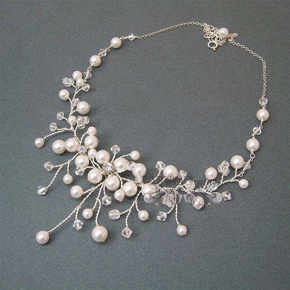 Vid collar collar de perlas de la boda collar por adriajewelry