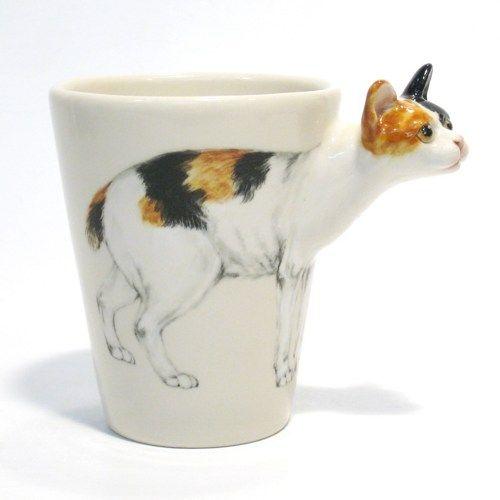 Japanese Bobtail Cat Mug Original Hand Sculpt and Painting