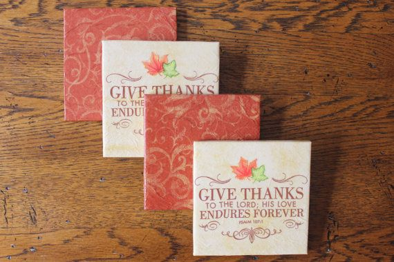 Fall Thanksgiving Ceramic Tile Coasters   by CrafTeaCafe on Etsy, $12.00