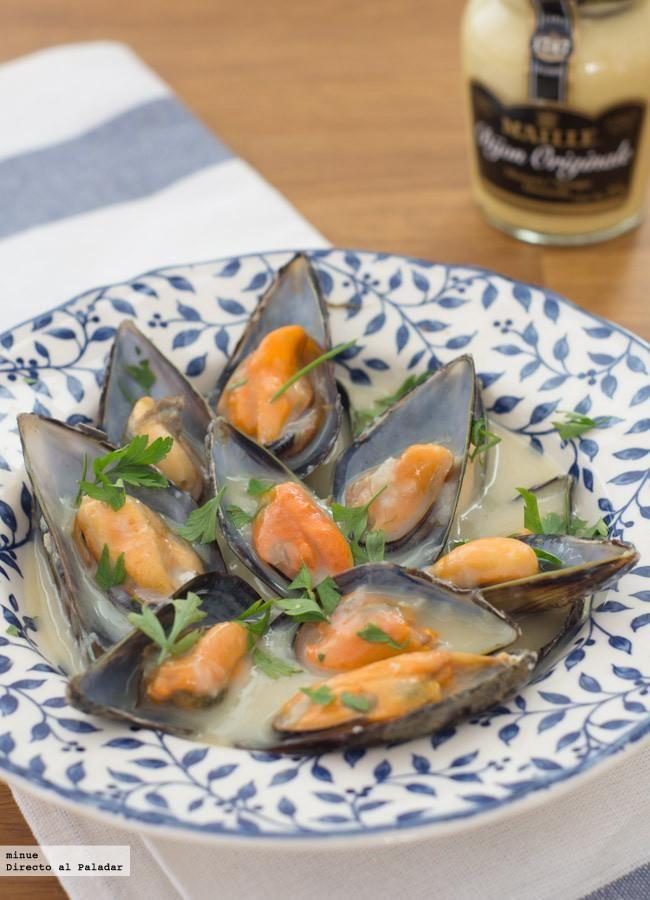 Receta de mejillones a la mostaza. Con fotos del paso a paso, los ingredientes y la presentación. Trucos y consejos de elaboración. Recetas de mariscos