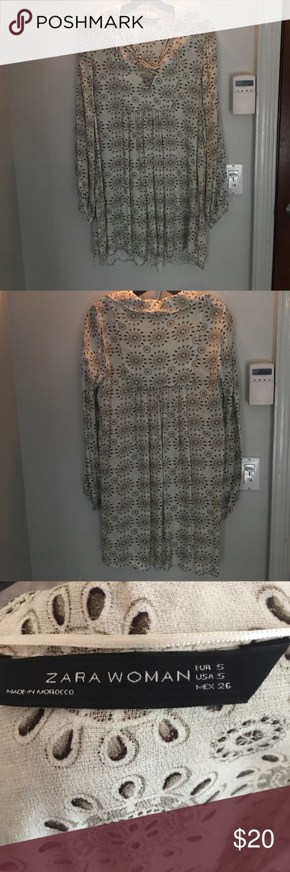 Zara Pattern Dress Zara Patterned Dress. NEVER WORN. PERFECT CONDITION. Perfect for summer. Pair it with some gladiator sandals. Zara Dresses Long Sleeve