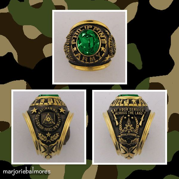 304124c07a0 Philippine Army Military Rings. Can be made in Brass gold, Stainless Alloy,  Pure Sterling Silver and … | Military Rings , Bull Rings , Fraternity Rings  in ...