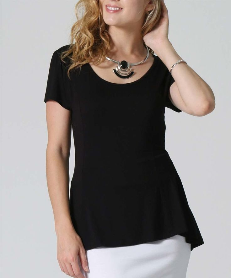 Take a look at this Pops Basic | Black Peplum Top today!