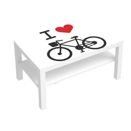 stickers pour table basse lack 90x55 i love bike deco. Black Bedroom Furniture Sets. Home Design Ideas