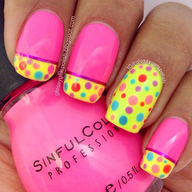Instagram media by dayznails - February nail art challenge day 4; polka dots. It's a recreation of an old mani I did last year. These neon colors are so nice and bright. Perfect on this gloomy rainy day. @sinfulcolorsprofessional 24/7 for the neon pink and @orlynails Glowstick for the neon green. #nailartfeb
