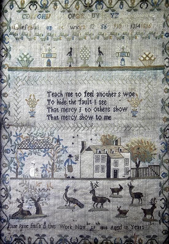 <b>A Regency needlework sampler,</b> with alphabet, verse and figural scene with farmhouse, peacocks, stags and rabbits, named and dated Jane Paine, finished this work November 29th 1816, aged 12 years, maple frame, <i>overall 19.5 x 15.5in.</i>