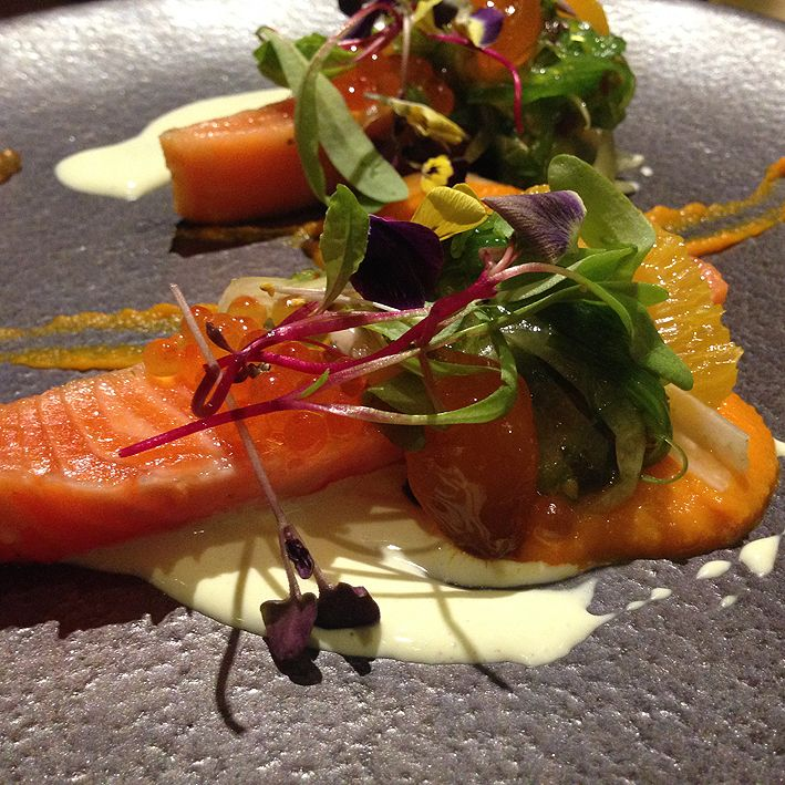 Ocean trout confit: orange-cured ocean trout confit at 55°C, with fennel seaweed salad, carrot puree, wasabi sour cream. Beautiful, soft, delicate ocean trout that melted in the mouth, with sweet carrot puree and wasabi sour cream, which had a bit of kick in it!