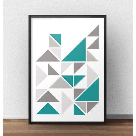 Plakat z trójkątami z akcentem koloru turkusowego
