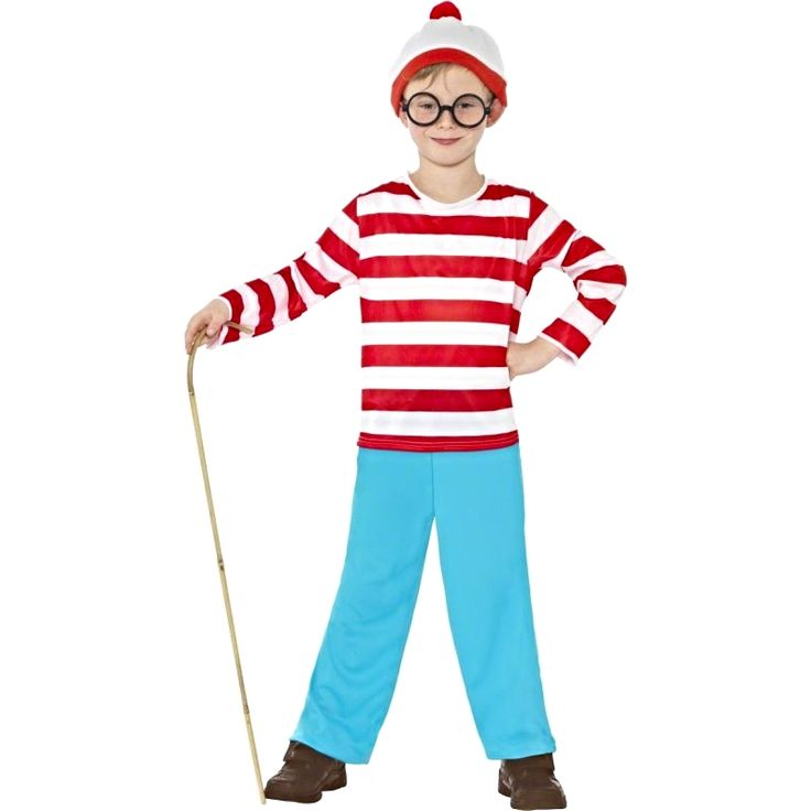 Official Licensed Where s Wally Fancy Dress Costume 4-6 years Chest 23 -25 58-64 cm Waist 21 1 2 - 22 1 2 54-57 cm Height 46 -41 115-128 cm 7-9 years