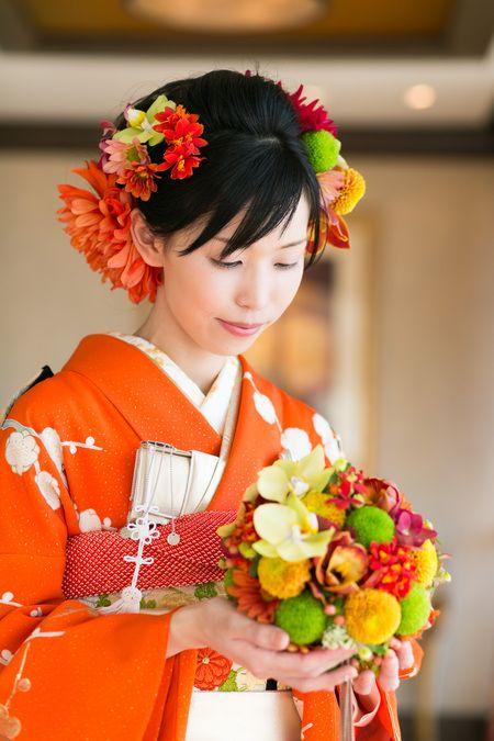 新郎新婦様からのメール、和装ブーケ 3代に受け継がれる振袖 ホテルオークラ様へ : 一会 ウエディングの花