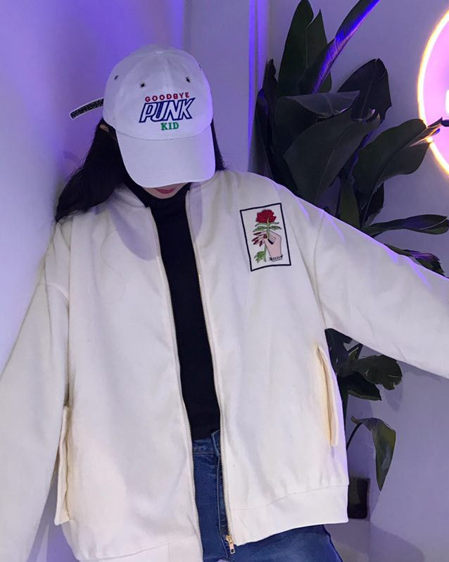 Rose hands embroidered bomber Jacket white buy usa uk boogzel apparel