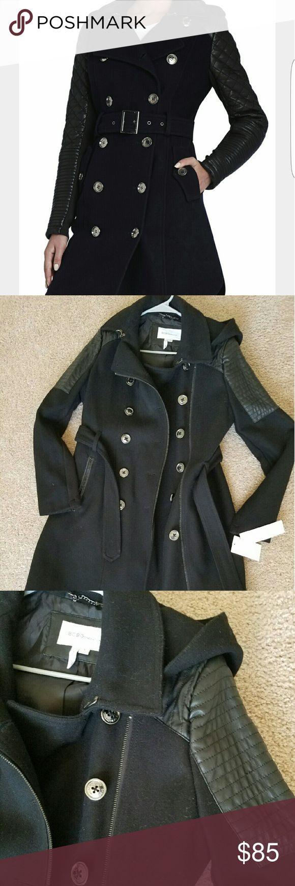 BCBGeneration Wool Trench w/quilted detail Beautiful wool Trench style coat, quilted leather detail on upper sleeves. Length is above knee. Its gorgeous!! The store only had a Large so I purchased it in hopes of getting it tailored, ended up in my closet for too long. Never worn except trying on at the store. BCBGeneration Jackets & Coats Trench Coats