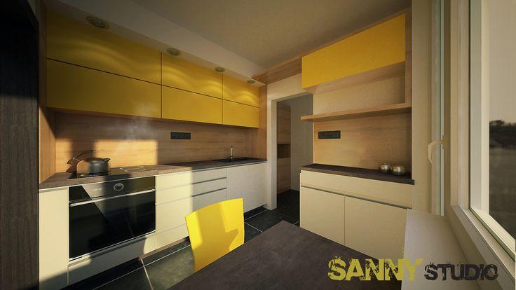 Návrh kuchynskej linky do 4 izbového bytu  v Karlovej Vsi, Bratislava.