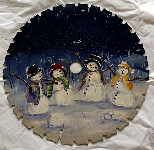"12"" Vintage Hand Painted Tole Artist Signed Christmas Theme Snowmen Saw Blade"