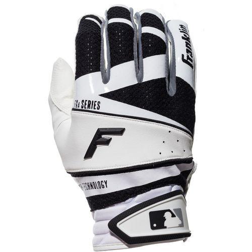 Franklin Adults Freeflex Series Batting Gloves White Black