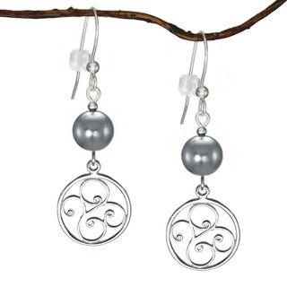 @Overstock - Jewelry by Dawn Sterling Silver Grey Pearl Round Filigree Dangle Earrings - Pretty round filigree drops suspended from 8 mm grey glass pearl beads make up these sterling silver beauties. These fashionable earrings secure with .925 sterling silver hooks for comfortable day to evening wear.    http://www.overstock.com/Main-Street-Revolution/Jewelry-by-Dawn-Sterling-Silver-Grey-Pearl-Round-Filigree-Dangle-Earrings/9423829/product.html?CID=214117 $15.99