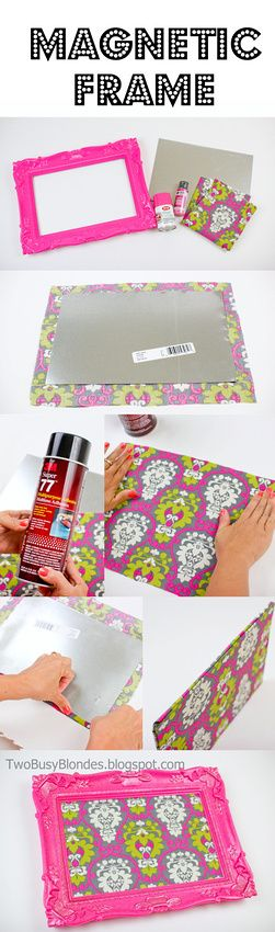 Fabric covered magnetic FRAME -DIY TUTORIAL!! Use it in the bathroom for makeup or office for pictures, notes, business cards, keys, etc. Great way to organize. So many possibilities. LOVE the bright colors!
