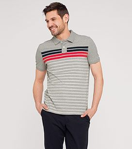 Poloshirt mit Streifen aus Bio-Baumwolle in der Farbe hellgrau-melange bei…