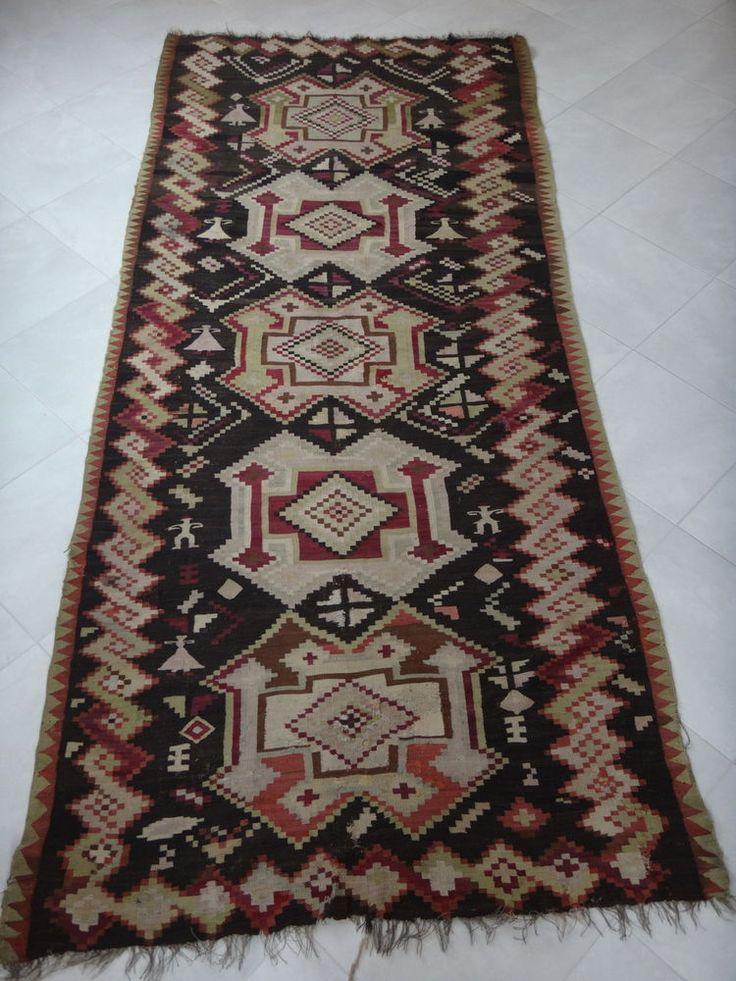 Ancien Tapis Kilim 330x145cm Old Kelim Handmade Carpet Nomad Tribal Rug Fin XIX