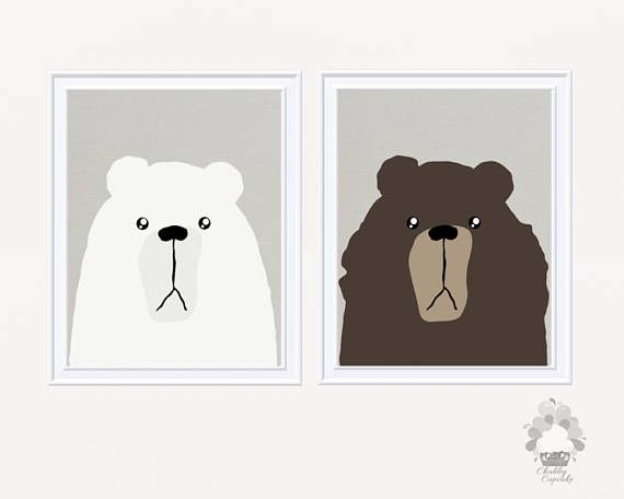 *** NO PHYSICAL PRINTS OR FRAMES INCLUDED - DIGITAL FILE ONLY ***  Baby Boy or Baby Girl Unisex Wall Art for a woodland bear themed Nursery - Cute bear decor for kids bedroom or nursery.  This adorable wall art of five prints features different types of bear illustrations: Polar Bear Grizzly Bear Panda Bear Tibetan Blue Bear Asian Black Bear.  ➤ WHAT YOU WILL GET Five (5) 8 x 10 high resolution digital files • JPEG file • 300 dpi • High quality for crisp clear images  *** Please let me know…