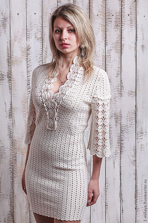 """Купить Платье """"Романтик"""" - белый, молочный цвет, авторское платье, Вязание…"""