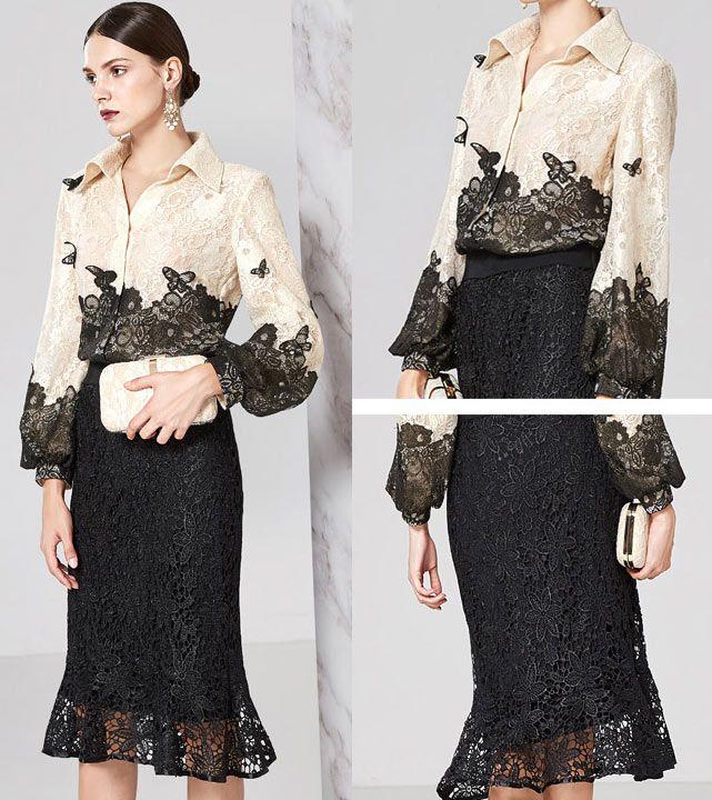 robe de soirée mi longue chemisier bicolore nude claire noire en dentelle guipure avec papillon