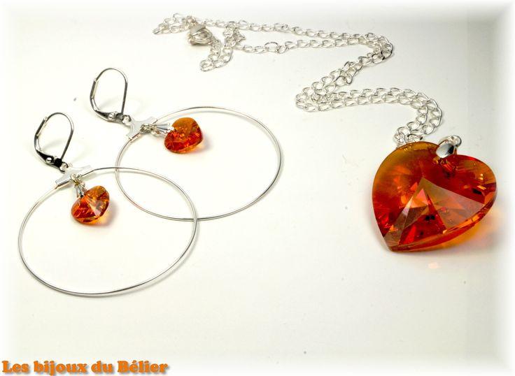 Collier coeur Swarovski orange à offrir pour la fête des mères : Collier par les-bijoux-du-belier