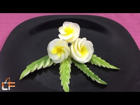 How to Make Radish Flowers Garnish - Art Of Radish Flower Carving Design - YouTube