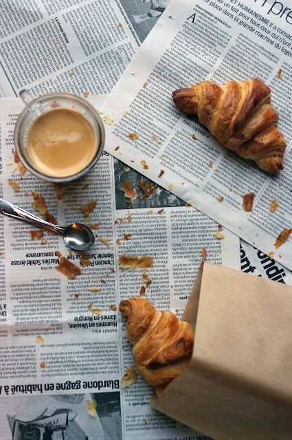 {Croissants and coffee.}