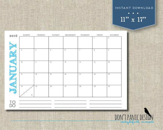 Large 2016 Printable Monthly Calendar Rustic by dontpanicOrganize