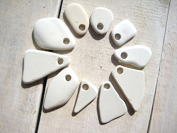 Sea Pottery // Drilled White // Beach Pottery by CreteDriftwood