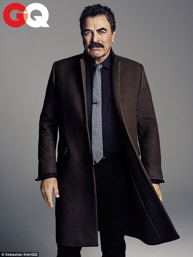 Coat // Sharp-dressed man: Tom Selleck, 69, is featured in the latest GQ issue that celebrates different ages