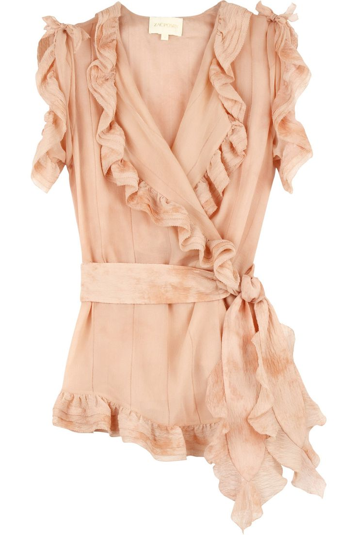 Zac Posen Peach Ruffle Blouse. Beautiful!