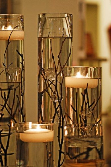 Easy DIY: Submerged birch branch centerpiece with floating candles