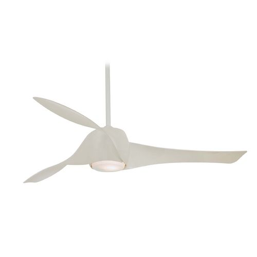 Modern Ceiling Fan with Light with White Glass in High Gloss White Finish at Destination Lighting