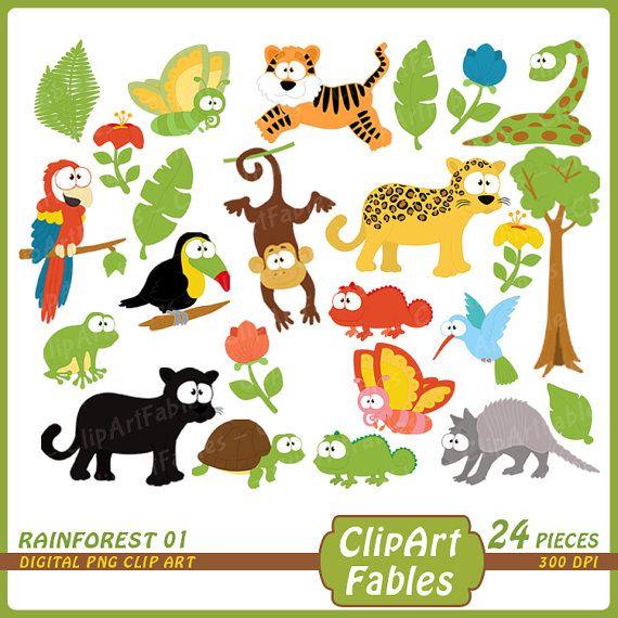 Rainforest Clipart Cute Wild Animals Clip Art Jungle Chameleon