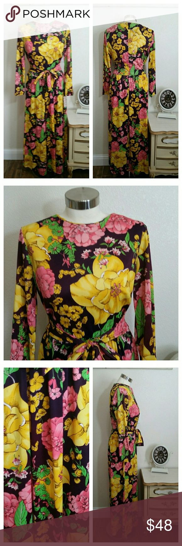 """Vintage Maxi Dress, Boho, Hippie, Medium Vintage 1970s maxi dress big Floral size medium  Long Sleeves Hand sewn Silky polyester Back zipper Ties attach to belt dress Gathers at waist Full skirt Big floral print Darts  Measurements:  36"""" Bust 28"""" Across waist center of wide band Full hips 54"""" length  Very good vintage Condition, ready to wear.  Thank you. Vintage Dresses Maxi"""