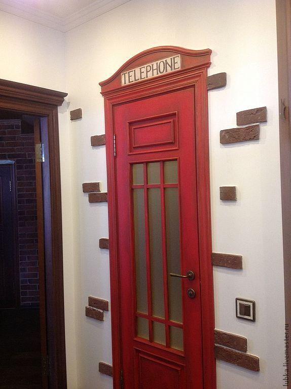 Купить роспись двери Телефонная будка - ярко-красный, роспись двери, роспись мебели